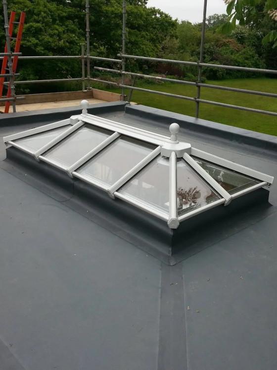 Roof light on EPDM flat roof.